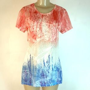 Vintage Concept Tunic Top Red Blue XL